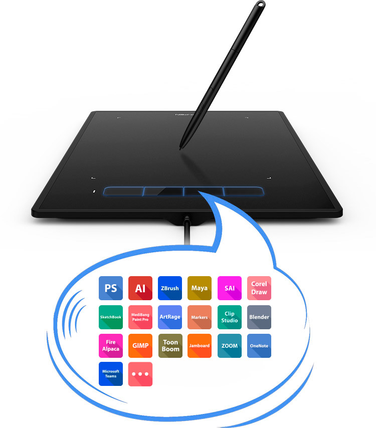 XP-Pen Star G960 best drawing tablet Features four customizable shortcut keys
